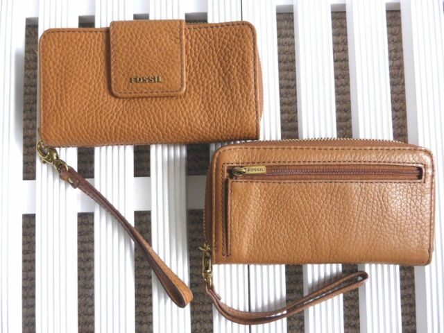 FOSSIL WRISTLET Leather Purse Wallet Saddle Brown Cards Notes Coins Zip Stud TAG
