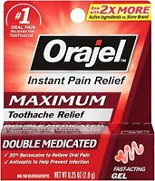 Orajel Maximum Strength Gel Instant Oral Pain Relief Reliever Toothache .25 oz