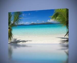 tropical beach canvas print home wall decor giclee art exotic trees