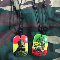 Selassie Rastafari Rasta Lion Of Judah Pendant Black Cord Necklace Selassie 1sz