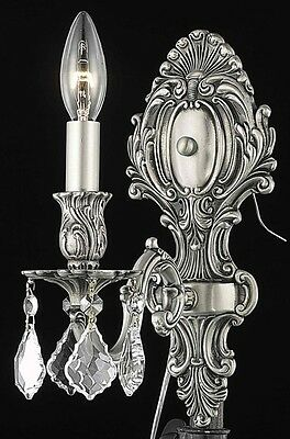 """1 LIGHT 11.5"""" PEWTER COLOR WALL SCONCE ASFOUR CRYSTAL BEDROOM BATHROOM FIXTURE"""