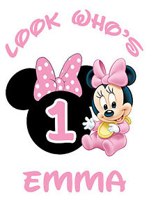 Image Is Loading Baby Minnie Mouse St Birthday Iron On Transfer