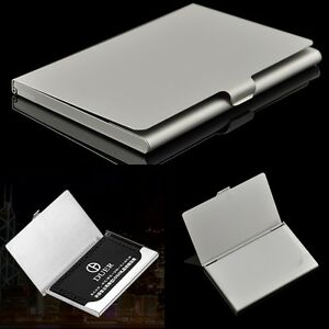 Stainless steel name card business card holder metal box storage id image is loading stainless steel name card business card holder metal reheart Images