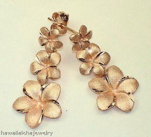 Gradué 14K or rose Diamond Cut bordures Hawaiian Plumeria Clous d/'oreilles #3M