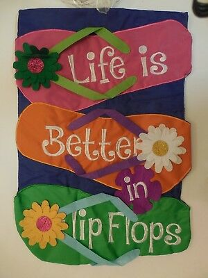 """life Is Better In Flip Flops"" Shaped Colorful, Beach, Pool, Summer Garden Flag"