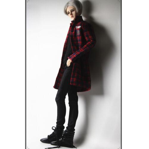 1//3 Red Plaid Overcoat Vest Jeans Set Clothes for 70cm BJD Uncle Doll SD17