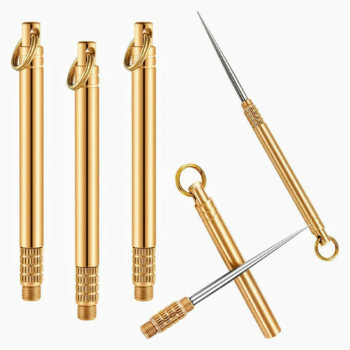 Brass Outdoor Edc Portable Toothpick Bottle Fruit Fork Camping Tool Key Chain
