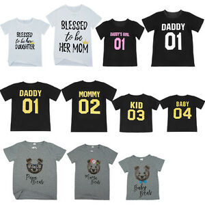 fe2ad1a899b Dad Mom Kid Baby Family Matching Outfits T-shirt Blouse Tops Tee ...