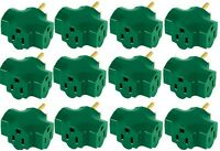 (24) Master Electrician Kab3ft-1 Green 3 Way Grounded Indoor Electrical Adapters