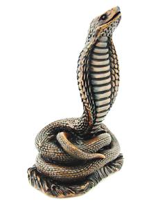 Cobra-Figurine-Feng-Shui-Lucky-Snake-Statue-Shelf-Decor-Resin-Large-Brown-9-034