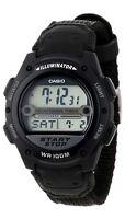 Casio W756B-1A 100M Digital Sports Watch Alarm Stopwatch Auto Led Cloth Band New