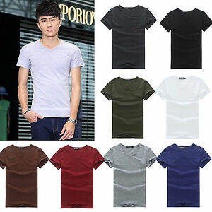 Mens-V-Neck-Cotton-T-Shirt-Tops-Slim-Fit-Casual-Plain-Short-Sleeve-Tee-Shirts-AU