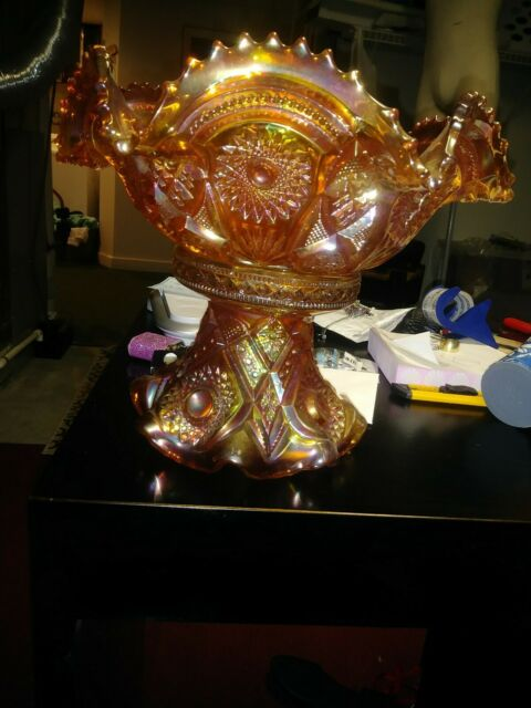 Antique 1910 Fashion Marigold Carnival by Imperial Glass Punch Bowl