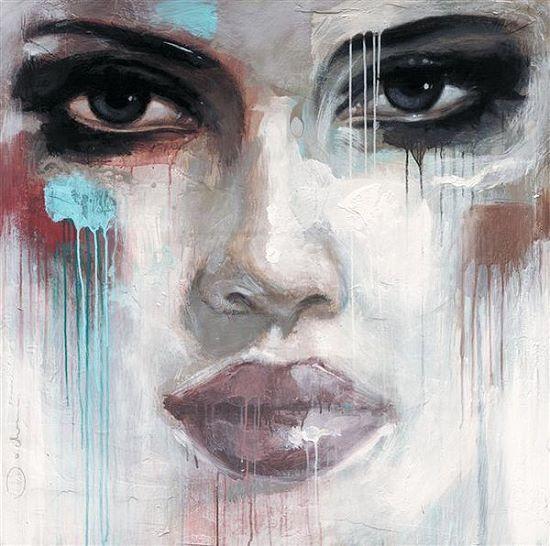 Hans Jochem  Live Votre Rêve Tableau Prêt 70x70 Tableau Mural Femme Portrait