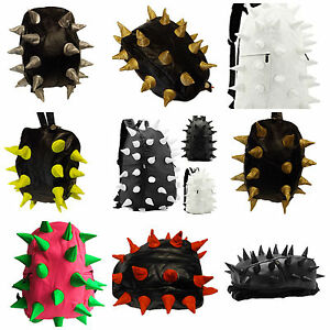 Black-soft-faux-leather-unisex-spiked-goth-Emo-punk-hedgehog-rucksack-backpack