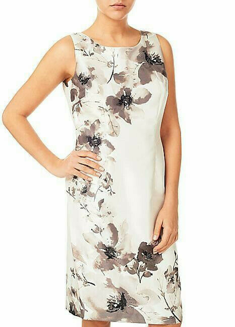 New Jacques Vert dress 14 18 20 Shantung floral Exclusive print Beaded rrp