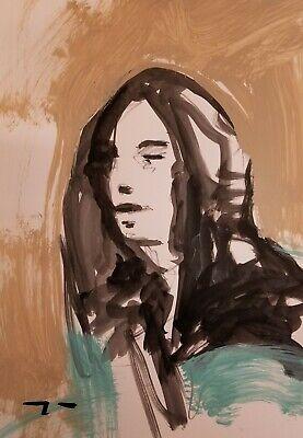 Jose Trujillo Acrylic Painting Abstract Portrait Original Modern Minimalism COA