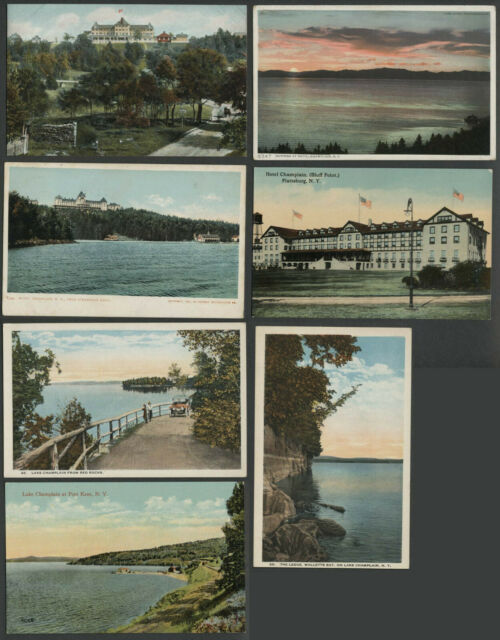 Lake Champlain NY: Lot of Seven c.1906-1920s Postcards HOTELS AND MORE