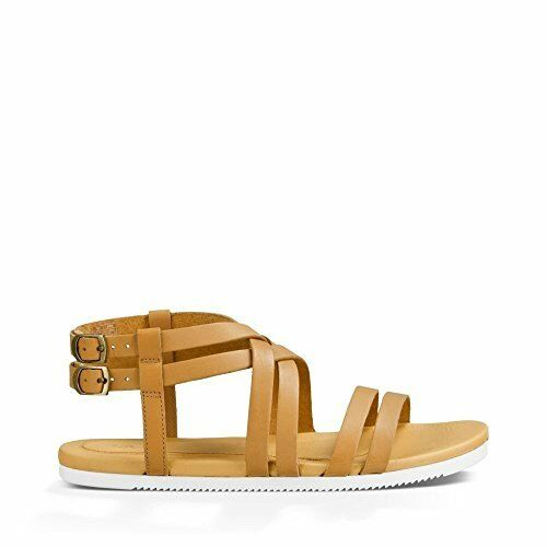 24283ac62c7f Buy Teva Womens Avalina Crossover Leather Flat Sandal Shoes Tan US 6 online