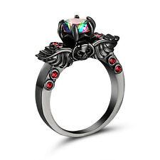 Gothic punk rave garnet and mystic topaz Black Skull Wedding / Engagement Ring