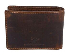 Brown-RFID-Blocking-Vintage-Hunter-Leather-Men-039-s-Bifold-Wallet-Flap-Top