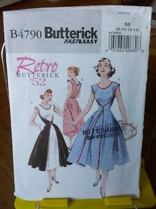 Oop-Butterick-easy-retro-52-4790-misses-summer-back-wrap-apron-dress-sz-8-14-NEW