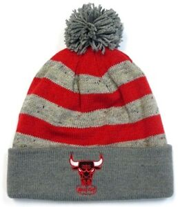 01d293c0cdf Chicago Bulls NBA Mitchell Ness Stripe Windy City Pom Knit Hat Cap ...