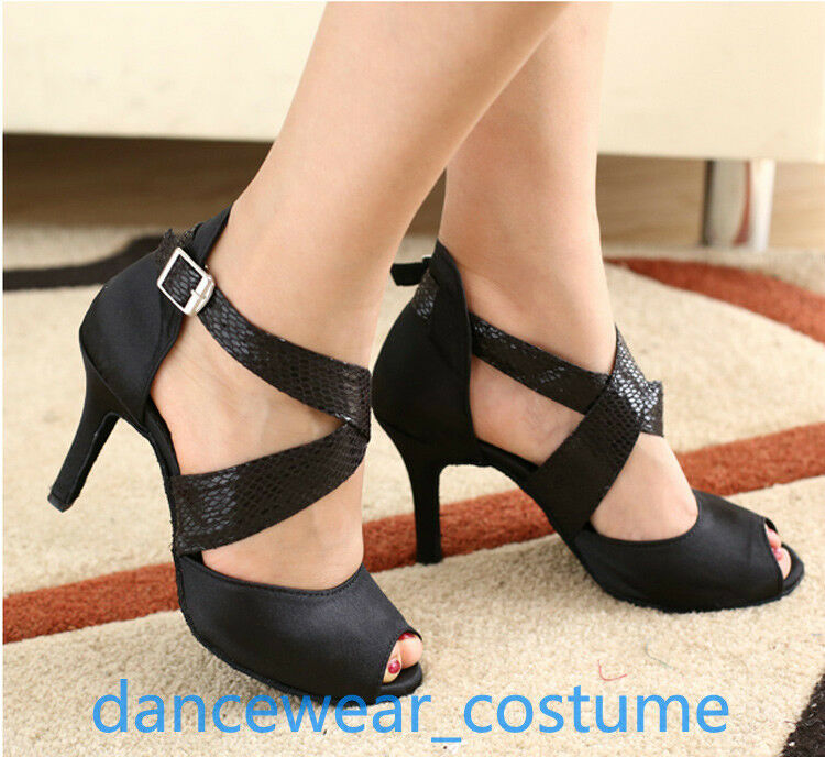 Women Black Prom Party Ballroom Shoes Latin Tango Salsa Dance Shoes Ballroom Heel Sandals US5-9 77d1c5