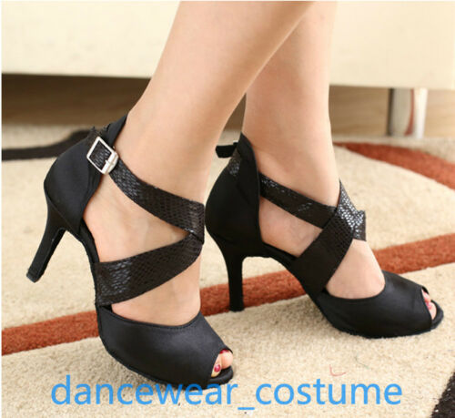 Women Black Prom Party Ballroom Latin Tango Salsa Dance Shoes Heel Sandals US5-9