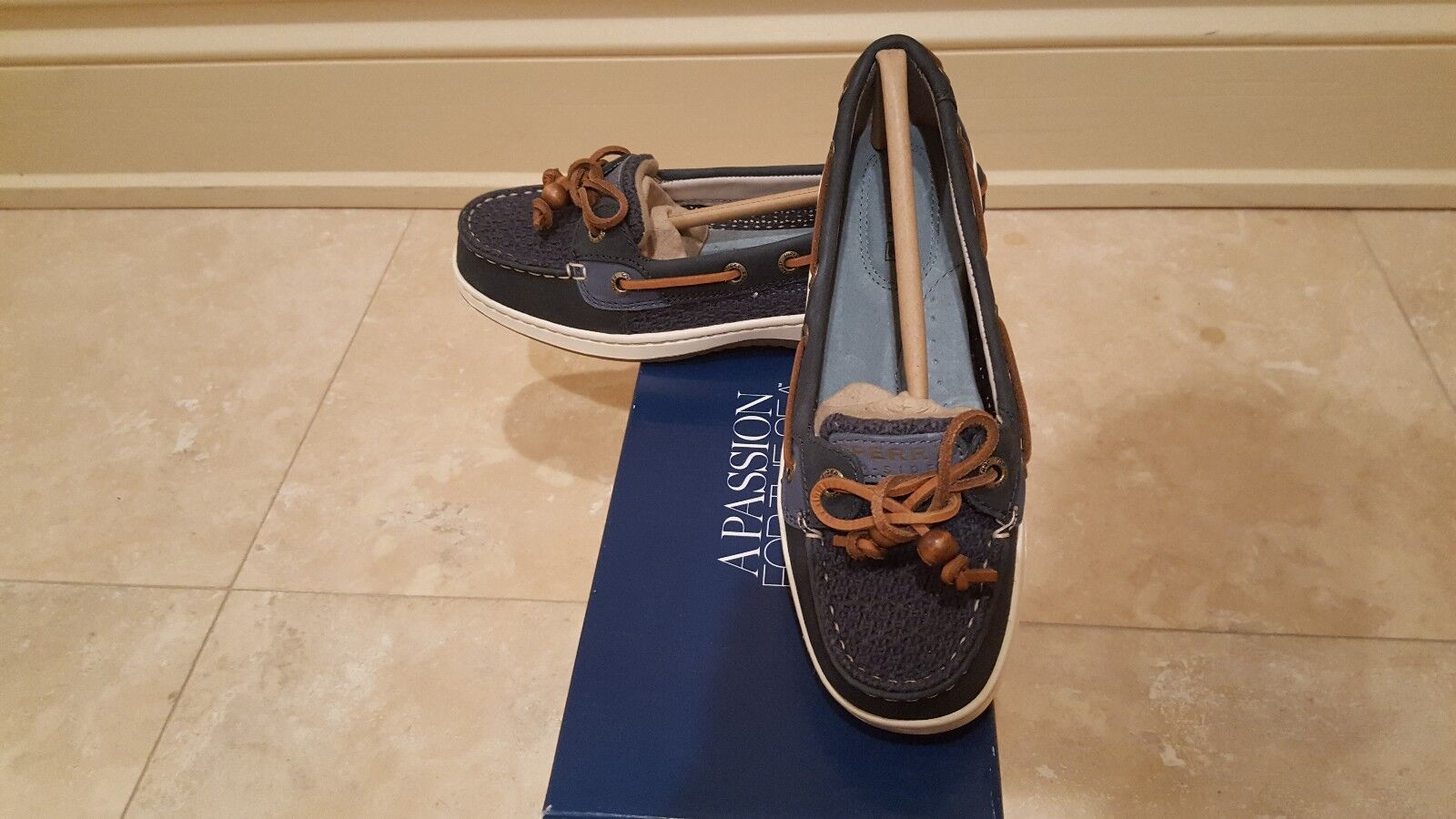 NWB Sperry Top-Sider Women's Angelfish Cotton Mesh Navy Boat Shoe 5M