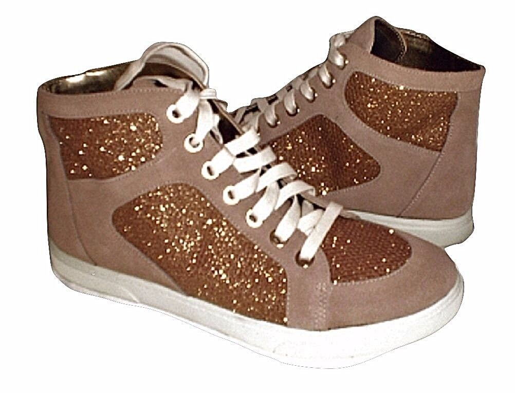 Enzo Angiolini Sovann athletic shoes high top sneakers gold  natural 8.5 Md NEW
