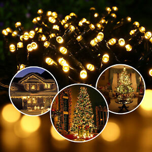 100-200-300-LED-Solar-Power-Fairy-Lichterkette-Streifen-Party-Weihnachten-Garten