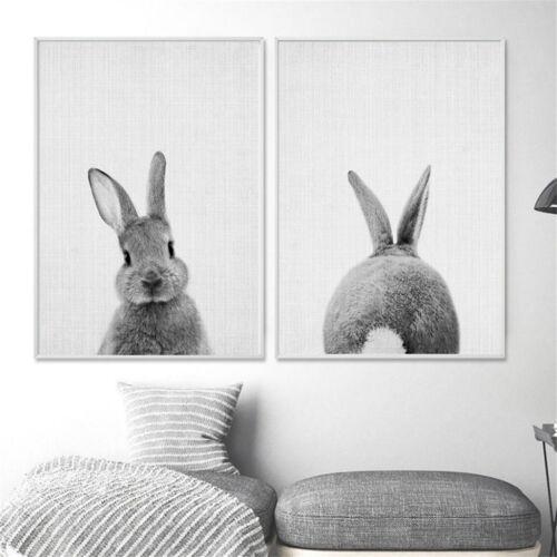 Nordische Kaninchen Leinwand Malerei Wand Kunstdruck Poster Tier  Home Dekor
