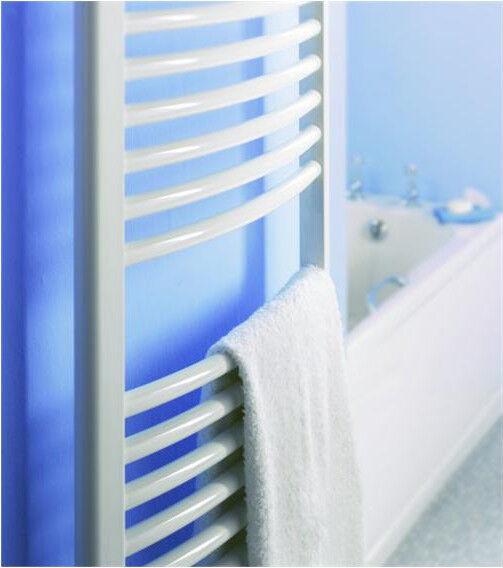 500mm Incurvé Blanc serviette chauffé rails   radiateurs, 25mm