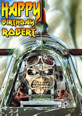 Iron Maiden Heavy Metal Music Personalised Greeting Happy Birthday Art Card Ebay