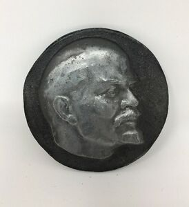 Lenin-Russia-Russian-Soviet-Relief-Table-Medal-Metal-Signed-Ship-From-USA-1819