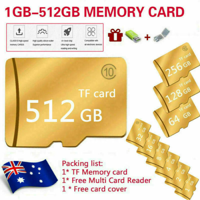 Micro SD Memory TF Card 64GB 128GB 256GB 512GB Class 10 SDXC SDHC With Reader AU