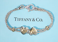 Tiffany & Co 18Ct Gold Sterling Silver Double Hearts on Rope 7.5 Inch Bracelet