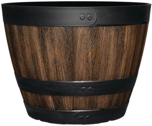 Wine Barrel Planter 11.3 in Kentucky Walnut Round Garden Outdoor Patio Wood Pot