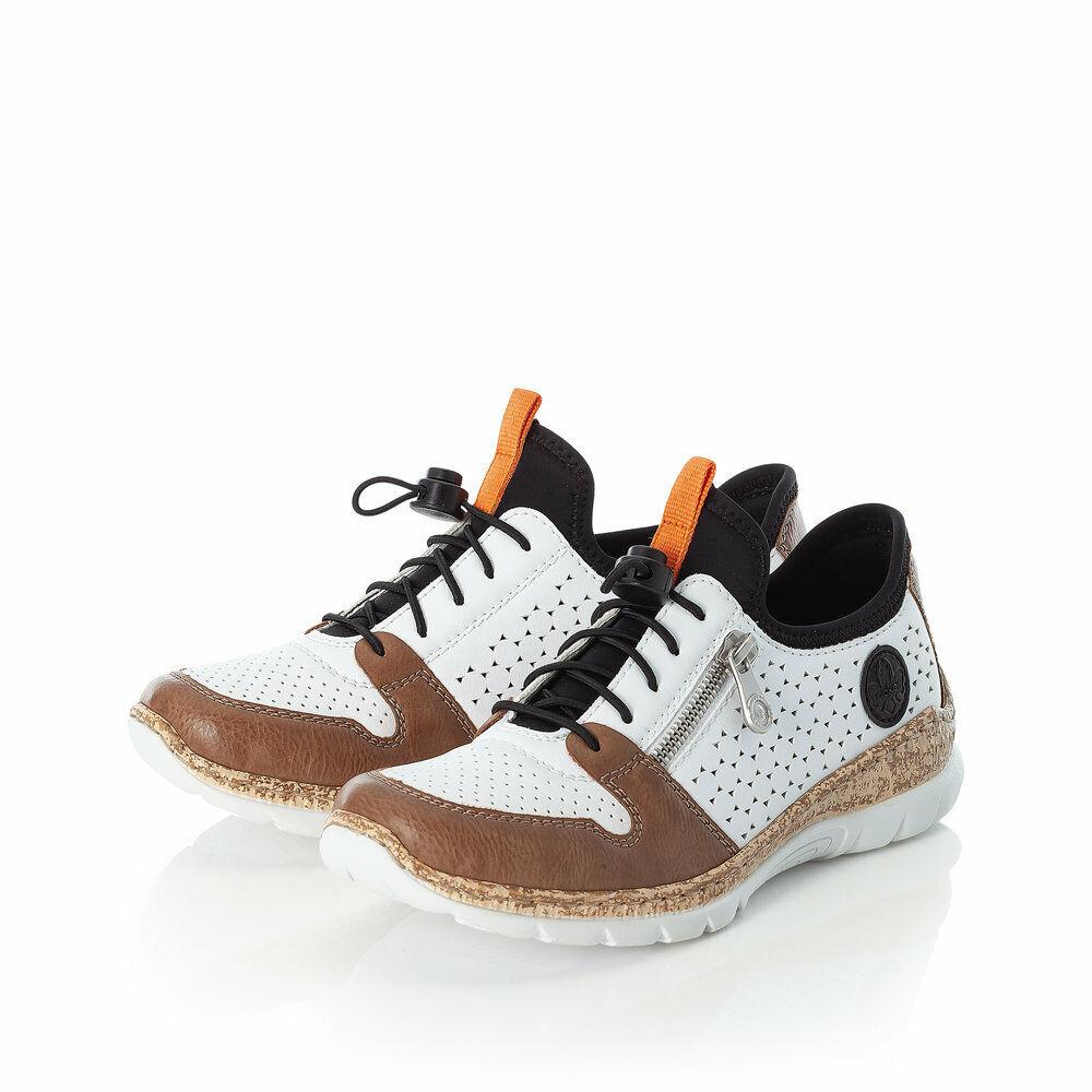 Rieker Chaussures de Sport Basses Mocassins Décontractées Blanc N42G6 Neuf