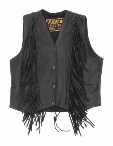 HUDSON Fringe Leather Motorcycle Vest S Small Wome