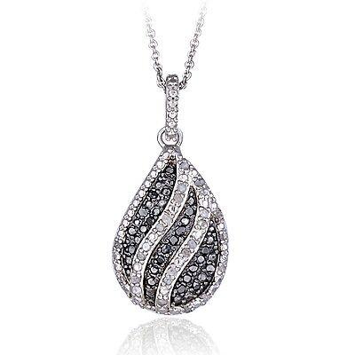 0.50ct TDW Black /& White Diamond Open Heart Necklace in Brass