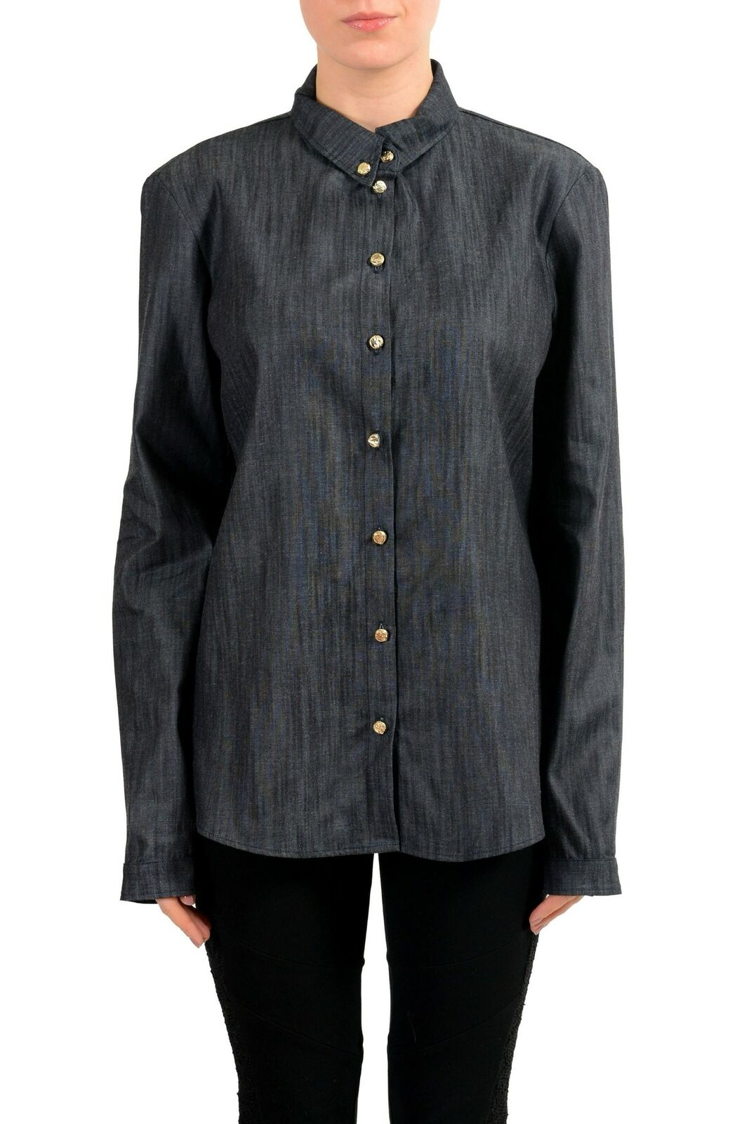 Versace Jeans bluee Button Down Denim Women's Shirt US 8 IT 44