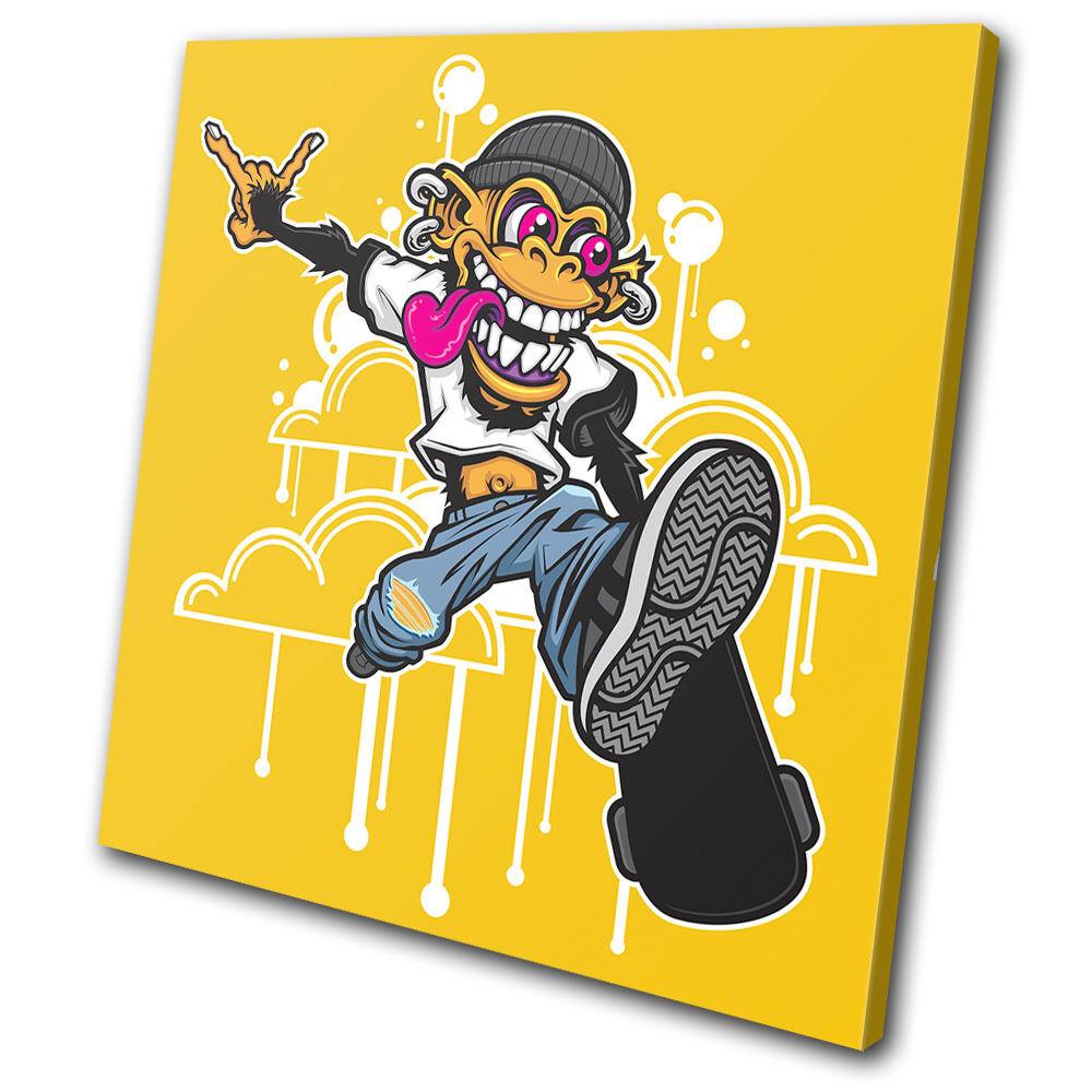 Graffiti Skateboarding Skateboarding Skateboarding Monkey  SINGLE TELA parete arte foto stampa 22f044