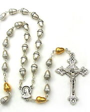NEW BEAUTIFUL MADE IN  ITALY SILVER & GOLD ACORN BEAD ROSARY LOVELY & UNIQUE