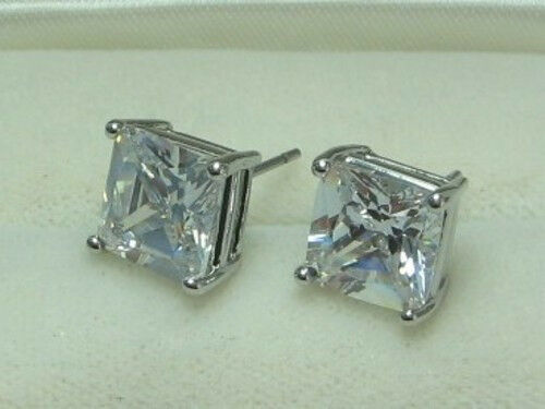 MEN HIP HOP White GOLD PLATED stud earrings with 7mm CZ stones