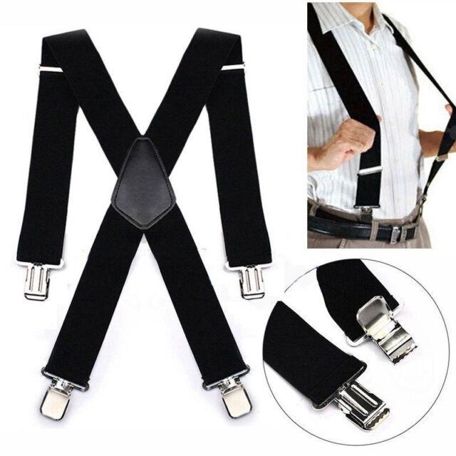 MEN'S 50mm Extra Wide Adjustable Elastic Mens Suspenders ClipOn Braces AU