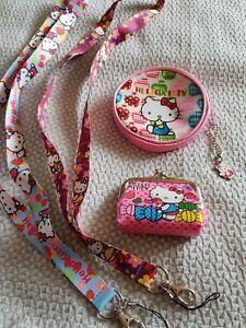 2 Filles Hello Kitty Porte-monnaie Plus 2 Lariat Bundle. Pretty Objets. Neuf. Cadeaux