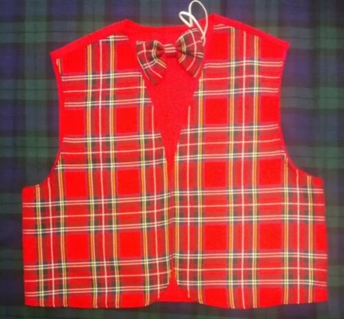 Kids Tartan Royal Stewart Waistcoat /& Bow Tie S M L Scottish Burns Night Childs