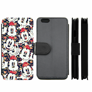 Mickey-Mouse-Disney-Floral-Wallet-Phone-Case-For-iPhone-Samsung-8-9-10